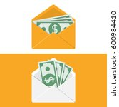 envelope with money. set of... | Shutterstock .eps vector #600984410