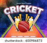 cricket event poster background ... | Shutterstock .eps vector #600986873