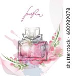 beautiful perfume bottle with... | Shutterstock .eps vector #600989078