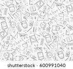 hand drawn school doodle set... | Shutterstock .eps vector #600991040