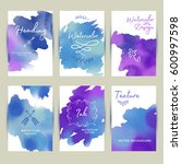 watercolor business card in... | Shutterstock .eps vector #600997598