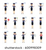 big set of policewoman...   Shutterstock .eps vector #600998309
