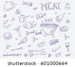 Meat Doodle Vector Set On...