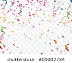 colorful confetti on white... | Shutterstock .eps vector #601002734