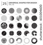 Set 25 Universal Geometric Shapes For Design Black And White Color | Shutterstock vector #601004600