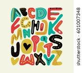 vector alphabet handdrawn...   Shutterstock .eps vector #601007348