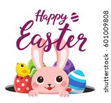card happy easter. easter bunny ... | Shutterstock .eps vector #601009808