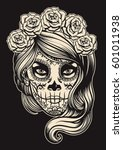 sugar skull girl | Shutterstock .eps vector #601011938