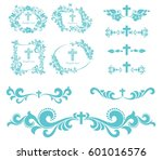 cross icons set. obituary... | Shutterstock .eps vector #601016576