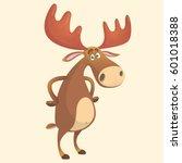 cool carton moose. vector... | Shutterstock .eps vector #601018388