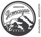 aconcagua in andes  argentina... | Shutterstock .eps vector #601018394