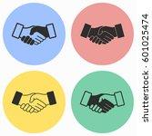 handshake vector icons set.... | Shutterstock .eps vector #601025474