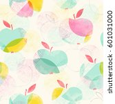 seamless pattern with apples | Shutterstock . vector #601031000