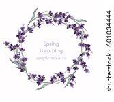 beautiful lavender wreath... | Shutterstock .eps vector #601034444