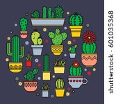 vector linear design  potted... | Shutterstock .eps vector #601035368