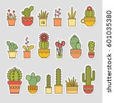 linear design  potted cactus.... | Shutterstock .eps vector #601035380