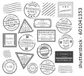 monochrome retro postage stamps ... | Shutterstock .eps vector #601041353