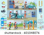 car repair service infographic... | Shutterstock .eps vector #601048076