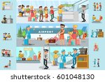 people in airport infographic... | Shutterstock .eps vector #601048130