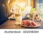 ice coffee in disposable coffee ... | Shutterstock . vector #601048304