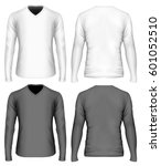 men's v neck long sleeve t... | Shutterstock .eps vector #601052510