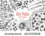 italian pizza top view frame. a ... | Shutterstock .eps vector #601053848