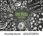 italian pizza top view frame.... | Shutterstock .eps vector #601053854