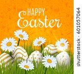 happy easter background with... | Shutterstock .eps vector #601057064