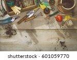 vegetable gardening header | Shutterstock . vector #601059770