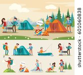 traveling camping composition... | Shutterstock .eps vector #601060838