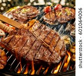 tasty marinated t bone steak...   Shutterstock . vector #601064006