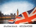 british union jack flag and big ... | Shutterstock . vector #601064588