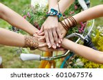 girl friendship. united hands... | Shutterstock . vector #601067576