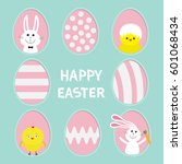 happy easter text. painted... | Shutterstock .eps vector #601068434