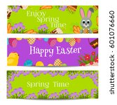 easter banners with... | Shutterstock .eps vector #601076660