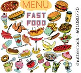 hand drawn fast food...   Shutterstock .eps vector #601080770