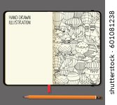 vector notebooks with pencil... | Shutterstock .eps vector #601081238