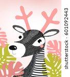 cartoon deer. picture of a deer.... | Shutterstock .eps vector #601092443
