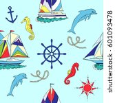 nautical seamless pattern with... | Shutterstock . vector #601093478