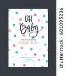 baby shower invitation  vector...   Shutterstock .eps vector #601095236
