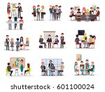 set of business meeting in... | Shutterstock .eps vector #601100024