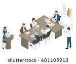 business people sit at table... | Shutterstock .eps vector #601105913