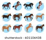 horses colourful collection in... | Shutterstock .eps vector #601106438