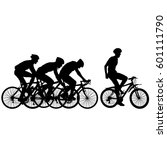 silhouettes of racers on a... | Shutterstock .eps vector #601111790