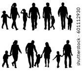 set silhouette of happy family... | Shutterstock .eps vector #601112930