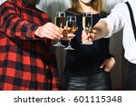 three glasses with wine or... | Shutterstock . vector #601115348