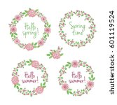 hello spring. wreaths of pink... | Shutterstock .eps vector #601119524