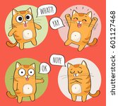 set of cute cat stickers in... | Shutterstock .eps vector #601127468
