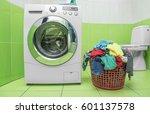 washing machine in the bathroom.... | Shutterstock . vector #601137578