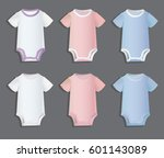 set of white  pink and blue... | Shutterstock .eps vector #601143089